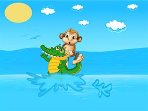 Monkey scared by crocodile's plan.jpg