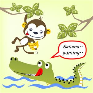 Monkey offering food to crocodile.jpg